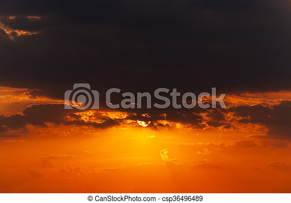 disk of the sun, sunset - csp36496489