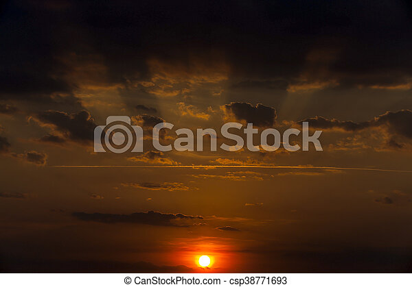 disk of the sun, sunset - csp38771693