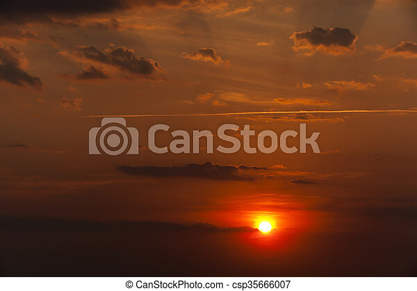 disk of the sun, sunset - csp35666007