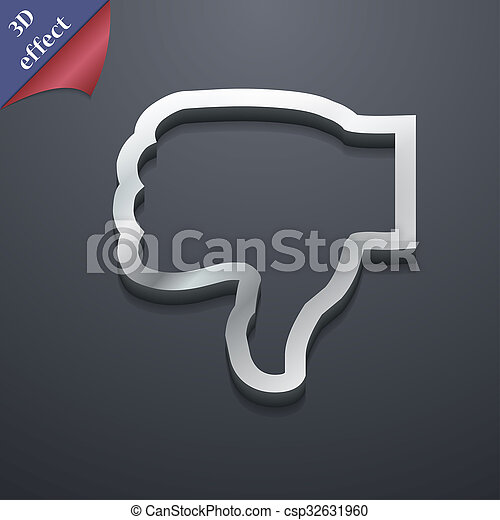 Dislike Icon Symbol 3d Style Trendy Modern Design With Space For