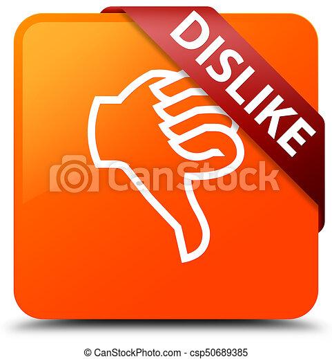 Dislike orange square button red ribbon in corner - csp50689385