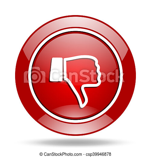 dislike red web glossy round icon - csp39946878