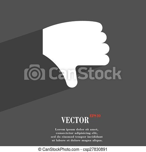 Dislike, Thumb down, Hand finger down icon symbol Flat modern web design with long shadow and space for your text. Vector - csp27830891