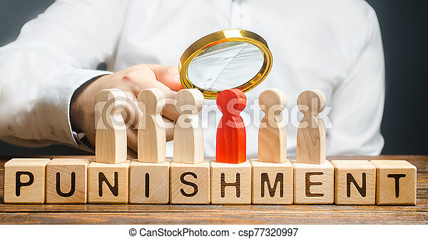 dismiss., responsabilidad, investigación, person., transferencia, incident., proyector, todos, castigar, búsqueda, scapegoat., orden, hombre uno, rojo, punishment., perpetrators, palabra - csp77320997