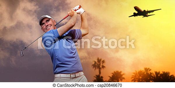 disparando, golfista, pelota de golf - csp20846670