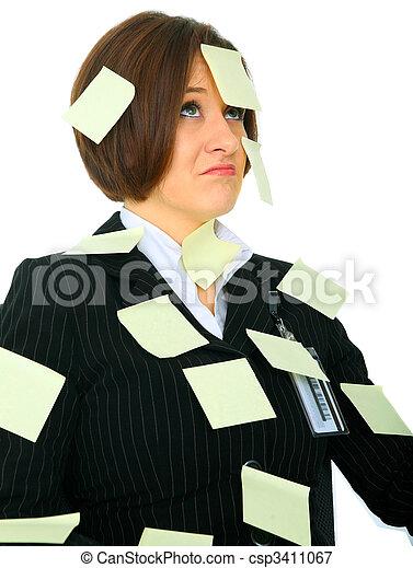 Displeased Woman Full Of Blank Post It - csp3411067