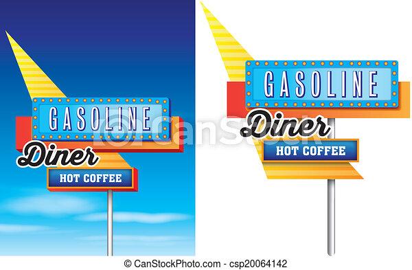 disponibile, stile, 1950s, motel, isolato, fondo, americano, vettore, pubblicità, bordo della strada, bianco - csp20064142
