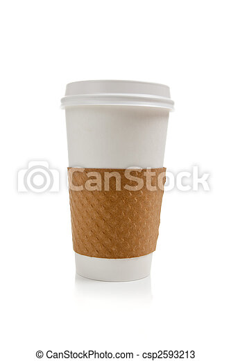 Disposable coffee cup on a white background - csp2593213