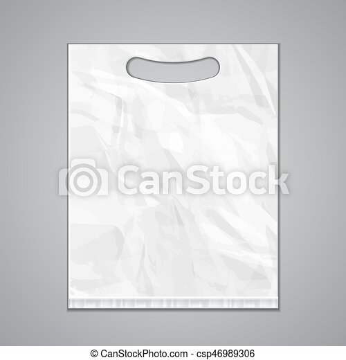 Disposable plastic bag package grayscale template on white ...