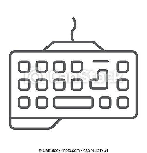 dispositivo, icono, juego, gráficos, lineal, patrón, delgado, telclado numérico, teclado, tecnología, señal, vector, fondo., línea, blanco - csp74321954