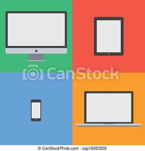 dispositivo, plano, diseño, colorido - csp19353005