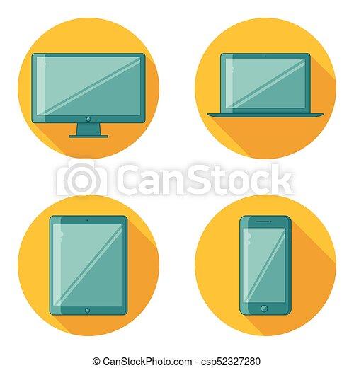 dispositivo, plano, diseño, iconos - csp52327280