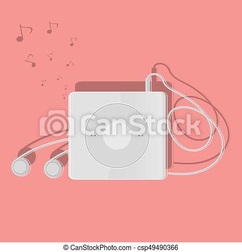 dispositivo, plano, diseño, portátil, música - csp49490366
