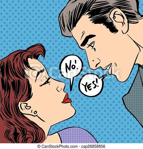 dispute men and women no yes pop art comics retro style halftone