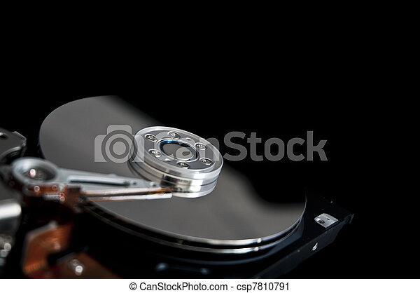disque, ouvert, dur, arrière-plan noir - csp7810791