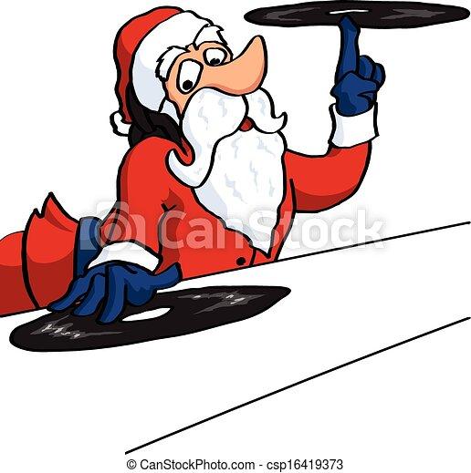 disques, claus, dj, vinil, santa - csp16419373