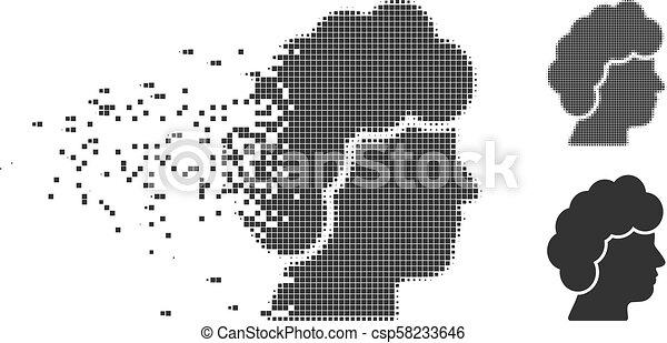 Dissolved Pixel Halftone Woman Profile Icon - csp58233646
