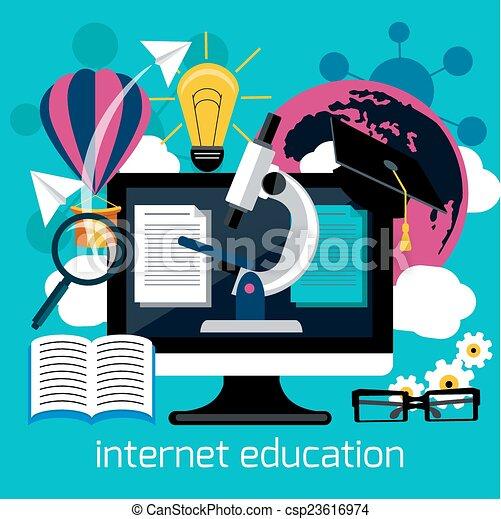 Distance education with internet services concept - csp23616974