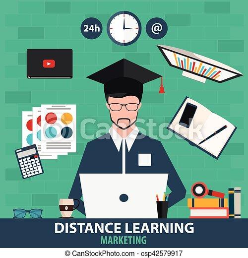 Aprendizaje de distancia. Marketing de educación online. Ilustración de vectores. - csp42579917