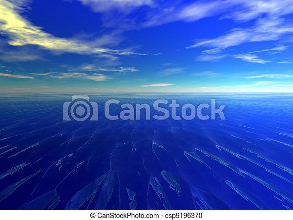 Distant Seascape Blue Water Ocean - csp9196370