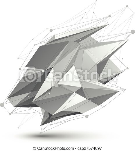 Distorted 3D abstract object with lines and dots isolated on white background. - csp27574097