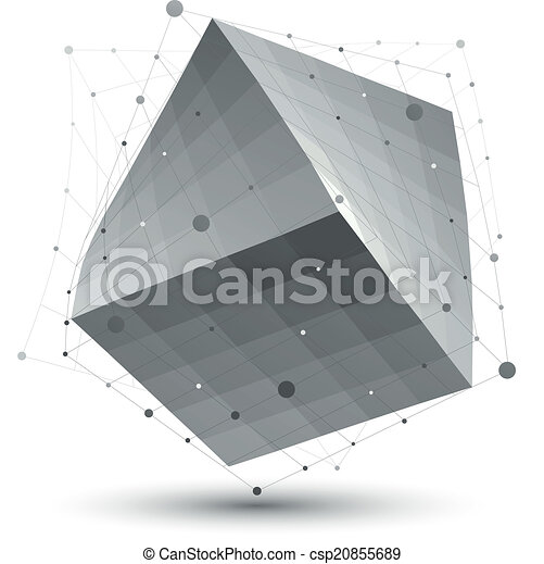 Distorted 3D abstract object with lines and dots isolated on whi - csp20855689