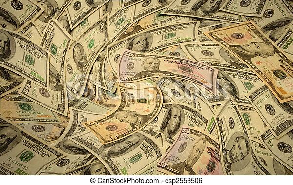 Distorted American banknotes cash money - csp2553506