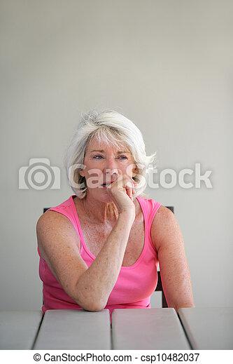 Distracted senior woman - csp10482037