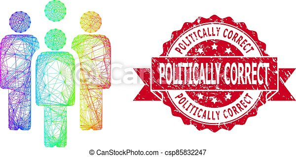 Distress Politically Correct Stamp Seal and LGBT Colored Hatched Staff - csp85832247
