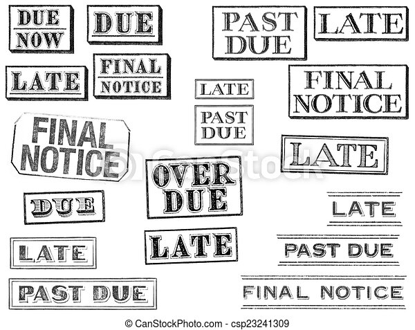 Distressed Late, Past Due, and Final Notice Stamps - csp23241309