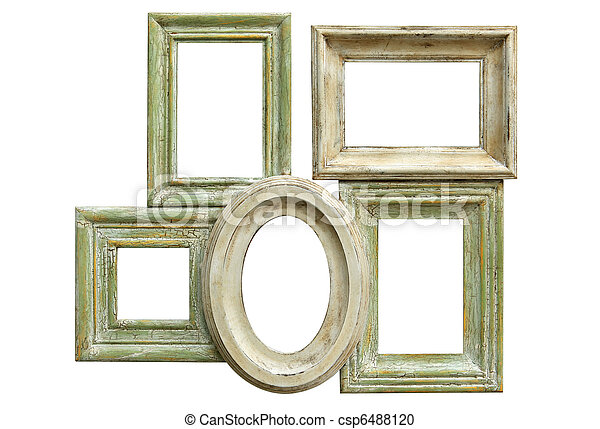 Distressed picture frames. Collection of distressed picture frames ...