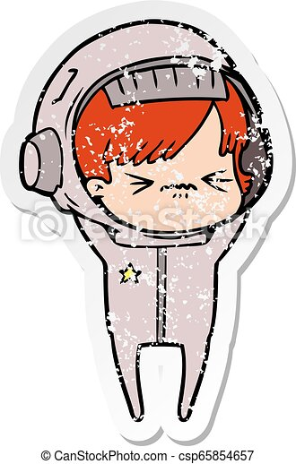 Distressed Sticker Of A Angry Cartoon Space Girl
