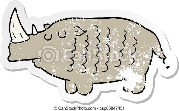 distressed sticker of a cartoon rhinoceros - csp65847451