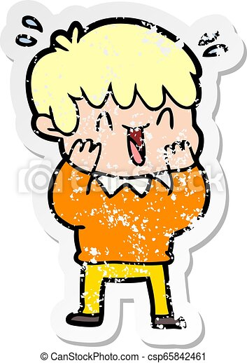 distressed sticker of a cartoon laughing boy - csp65842461