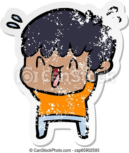 distressed sticker of a cartoon laughing boy - csp65902593