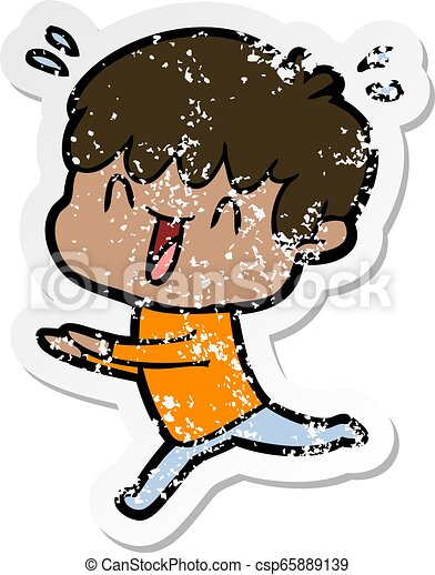 distressed sticker of a cartoon laughing boy - csp65889139
