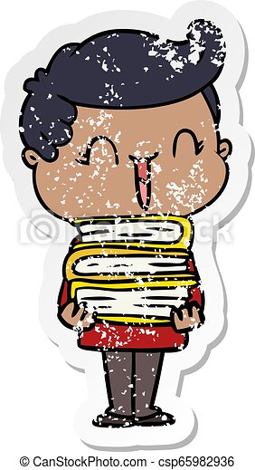 distressed sticker of a cartoon laughing boy carrying books - csp65982936