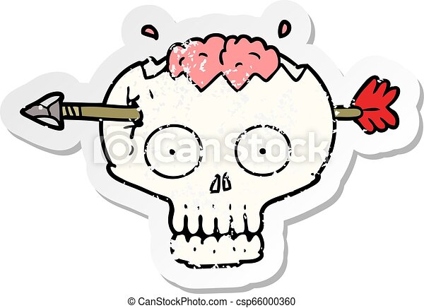 distressed sticker of a cartoon skull with arrow through brain - csp66000360