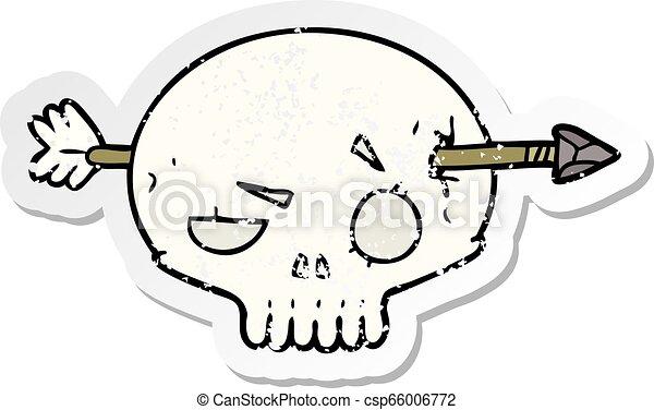 distressed sticker of a cartoon skull with arrow - csp66006772