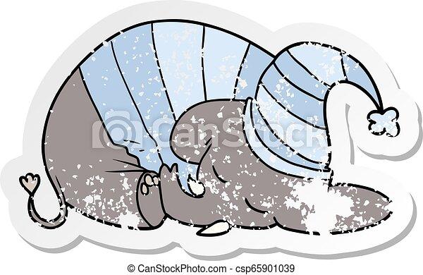 Distressed sticker of a cartoon sleeping elephant in pajamas.