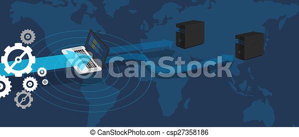 distribución, servidor, red, virtual, base de datos - csp27358186