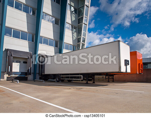Distribution Center with Trailers Export concept - csp13405101