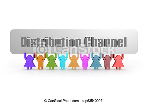 Distribution Channel word on a banner hold by group of puppets - csp63540027