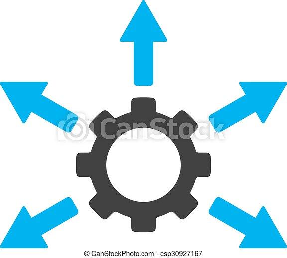 distribution engrenage ic ne bleu plat style arrondi engrenage bicolore symbole. Black Bedroom Furniture Sets. Home Design Ideas
