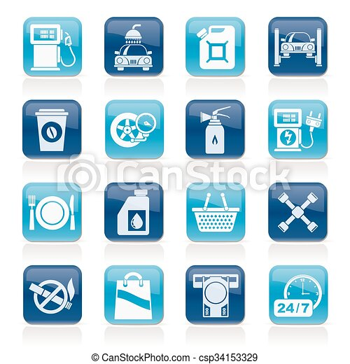 distributore di benzina, servizi, icone - csp34153329