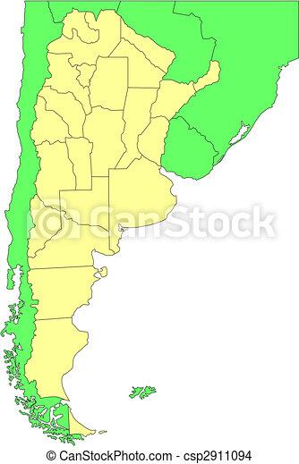 districts, administratif, argentine, entourer, pays - csp2911094
