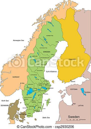 districts, administratif, entourer, suède, pays - csp2930206