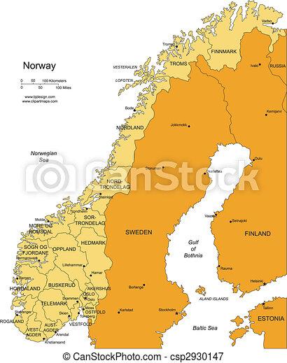 districts, administratif, entourer, norvège, pays - csp2930147