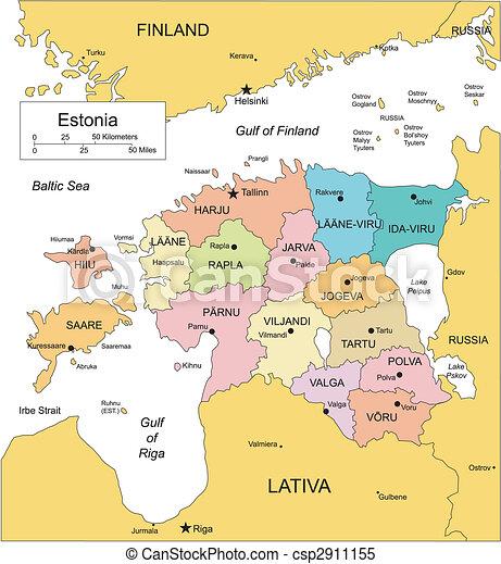 districts, administratif, entourer, pays, estonie - csp2911155