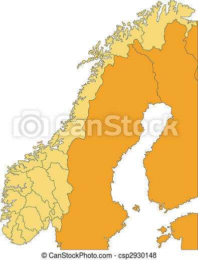 districts, administratif, entourer, norvège, pays - csp2930148